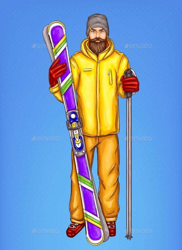 Pop Art Skier Man Vector Sketch Illustration - Sports/Activity Conceptual