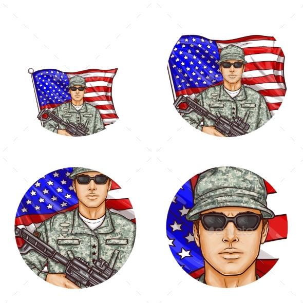 Vector US Flag Soldier Pop Art Avatar Icons - Miscellaneous Vectors