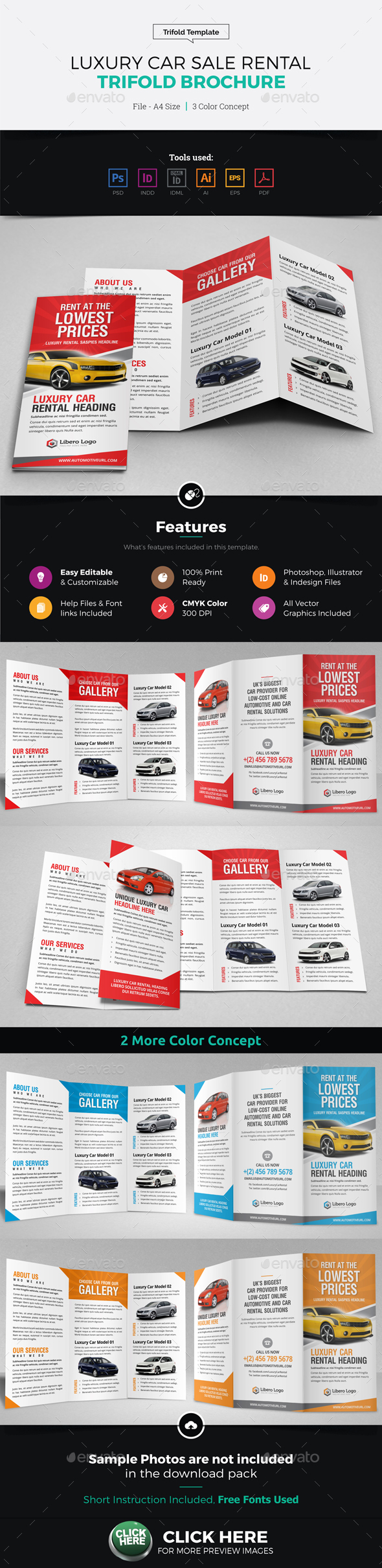Luxury Car Sale Rental Trifold Brochure - Corporate Brochures