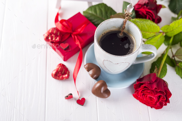 Valentine coffee with roses - Stock Photo - Images