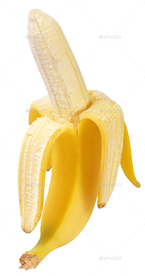 half peeled banana isolated - Stock Photo - Images