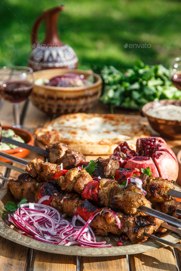 Shashlik portion georgian national cuisine concept. - Stock Photo - Images