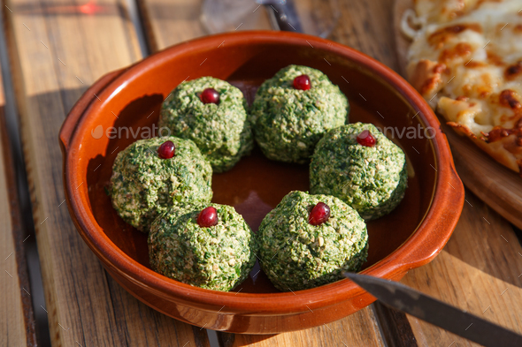 Pkhali, Georgian dish with spinach, nuts, beets and herbs. - Stock Photo - Images