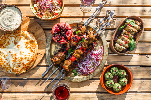 Shish kebab or shashlik, grilled meat skewers, traditional georgian dish, top view - Stock Photo - Images