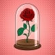 Rose Under Glass Cap Pop Art Vector Illustration - GraphicRiver Item for Sale