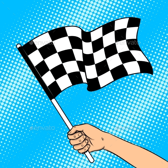 Racing Flag in Hand Pop Art Vector Illustration - Sports/Activity Conceptual