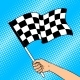 Racing Flag in Hand Pop Art Vector Illustration - GraphicRiver Item for Sale
