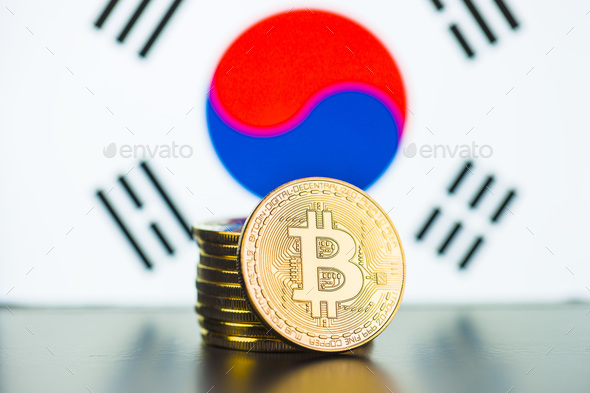 Golden bitcoins and South Korea flag. - Stock Photo - Images