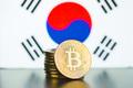 Golden bitcoins and South Korea flag. - PhotoDune Item for Sale