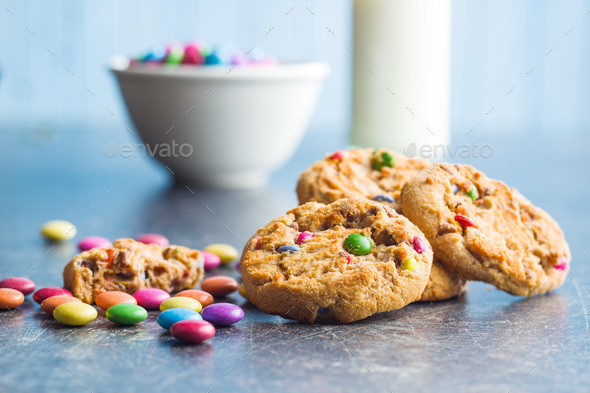 Sweet cookies with colorful candies. - Stock Photo - Images