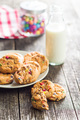 Sweet cookies with colorful candies and milk. - PhotoDune Item for Sale
