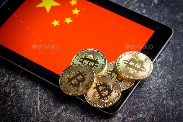 Golden bitcoins and chinese flag. - Stock Photo - Images