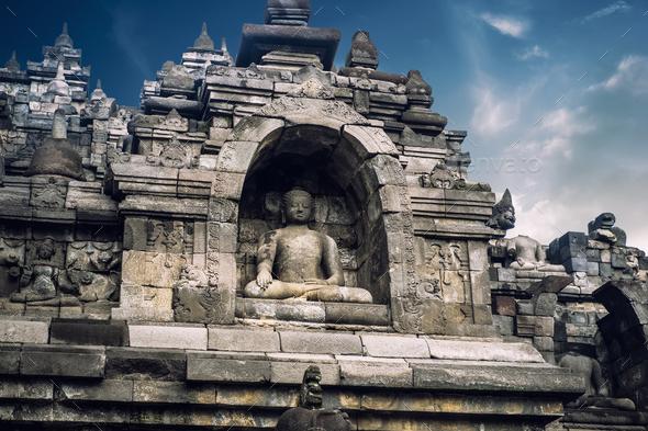 Ancient Borobudur Buddhist temple. Java, Indonesia - Stock Photo - Images