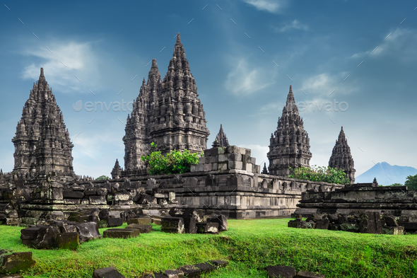 Prambanan lHindu temple ruins. Java, Indonesia.  - Stock Photo - Images