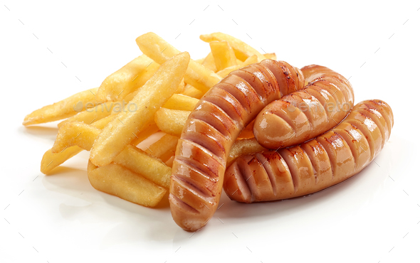fried potatoes and sausages  - Stock Photo - Images