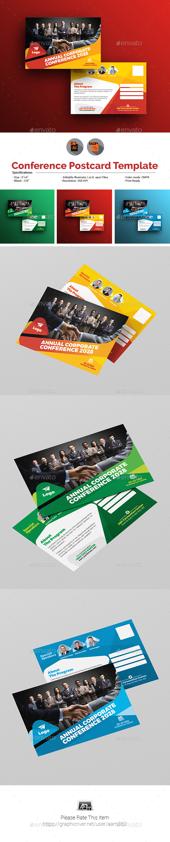 Annual Corporate Conference Postcard - Cards & Invites Print Templates