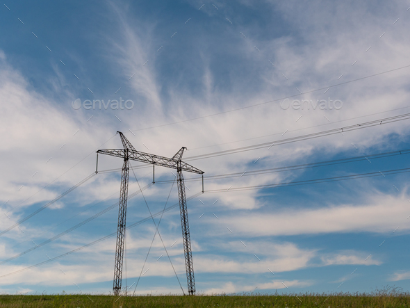 cloudy morning sky and a high-voltage line - Stock Photo - Images