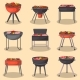 Barbecue Grill with Food Isolated Set - GraphicRiver Item for Sale