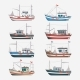 Fishing Boats Side View on White Background - GraphicRiver Item for Sale