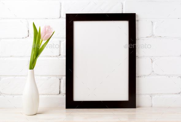 Black brown  frame mockup with soft pink tulip in vase - Stock Photo - Images