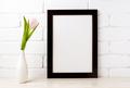 Black brown  frame mockup with soft pink tulip in vase - PhotoDune Item for Sale