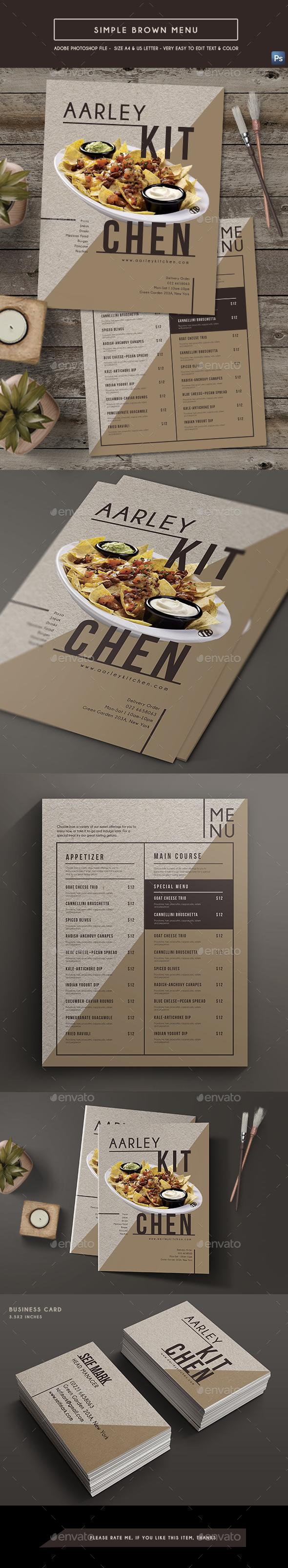 Simple Brown Menu - Food Menus Print Templates