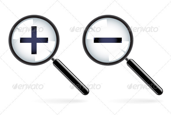 Monochromatic increase-decrease magnifiers icons - Borders Decorative