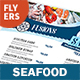 Seafood Restaurant Menu Flyers 3 – 4 Options