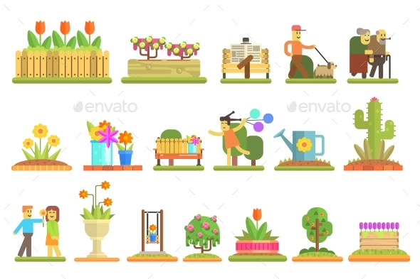 Spring and Flowers. Flat Vector Illustration Set - Miscellaneous Vectors