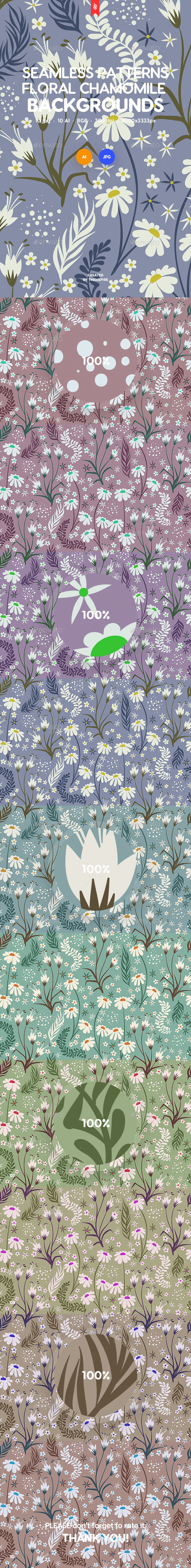 Seamless Patterns Floral Chamomile Backgrounds - Patterns Backgrounds