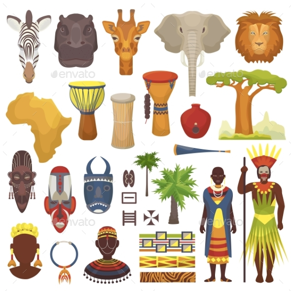 African Culture Vector Characters in Traditional - Animals Characters