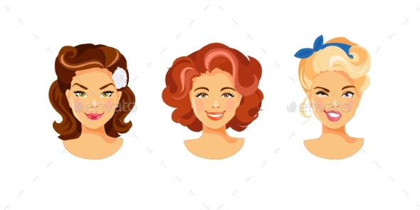 Female Hairstyle Retro - People Characters