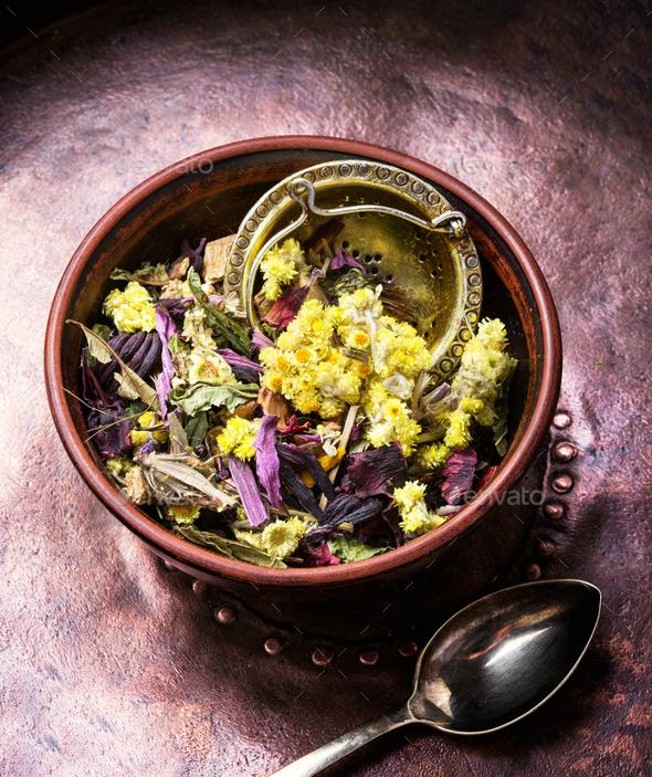 Dry herb tea.Tea leaf - Stock Photo - Images