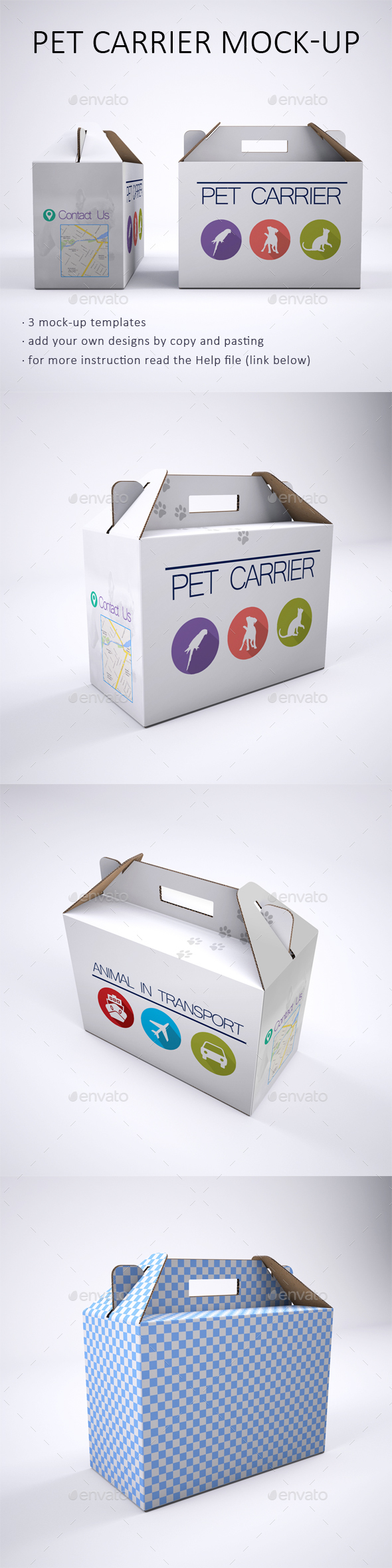 Pet Carrier Cardboard Box Mock-Up - Packaging Product Mock-Ups