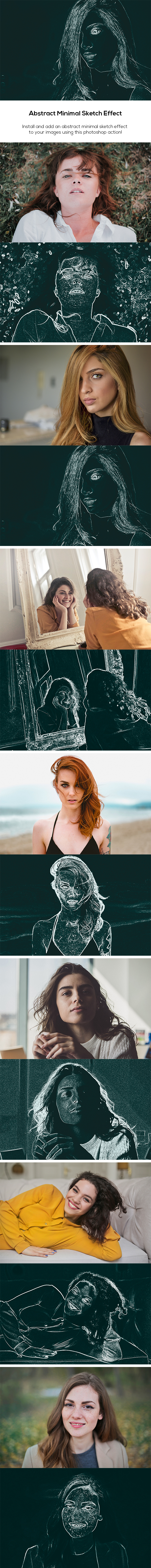 Abstract Minimal Sketch Effect - Photo Effects Actions