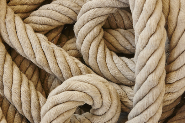 Thick rope with loops. Marine background. Horizontal - Stock Photo - Images