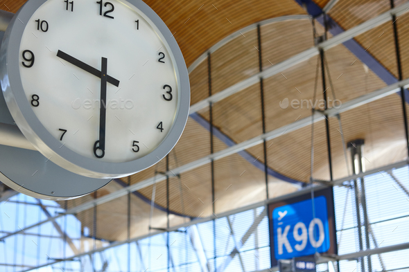 Indoor airport information watch. Departure gates. Travel background. Time. Horizontal - Stock Photo - Images
