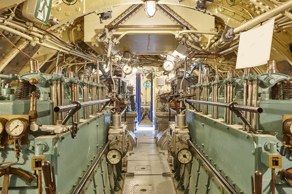 Second war world submarine interior. Engine room. Military vessel. Horizontal - Stock Photo - Images