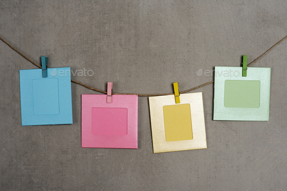 multi colored photo frames - Stock Photo - Images
