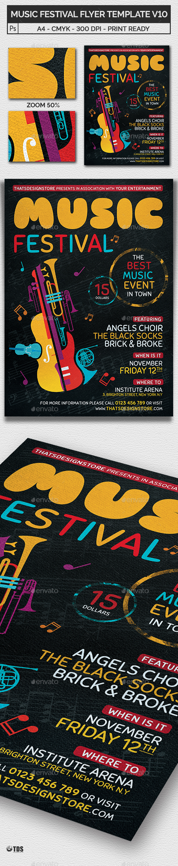 Music Festival Flyer Template V10 - Concerts Events