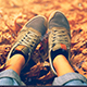 Foot Steps Dry Leaves