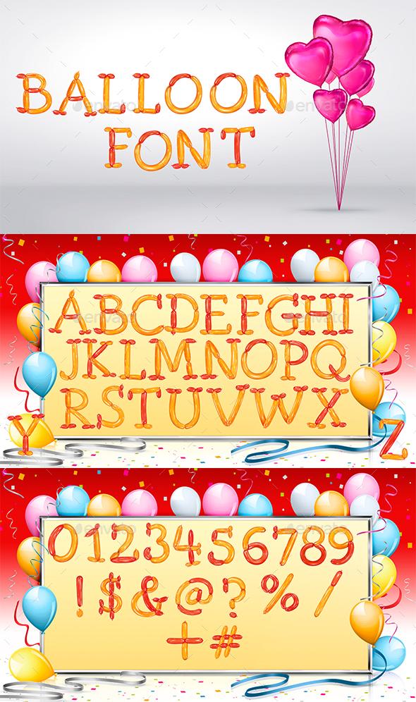 Balloons Font - Text 3D Renders