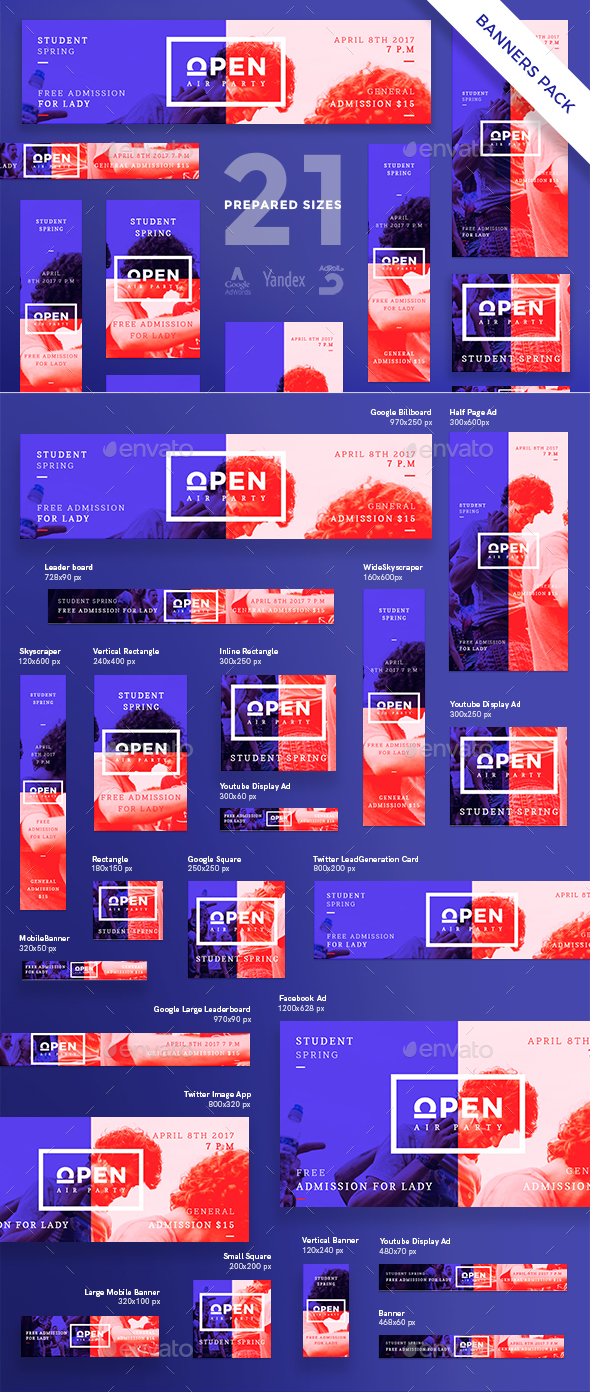 Open Air Party Banner Pack - Banners & Ads Web Elements
