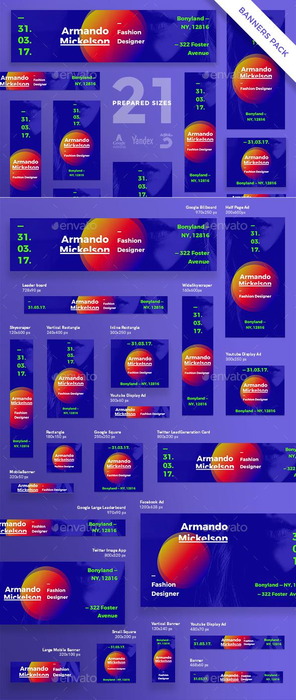Fashion Designer Banner Pack - Banners & Ads Web Elements