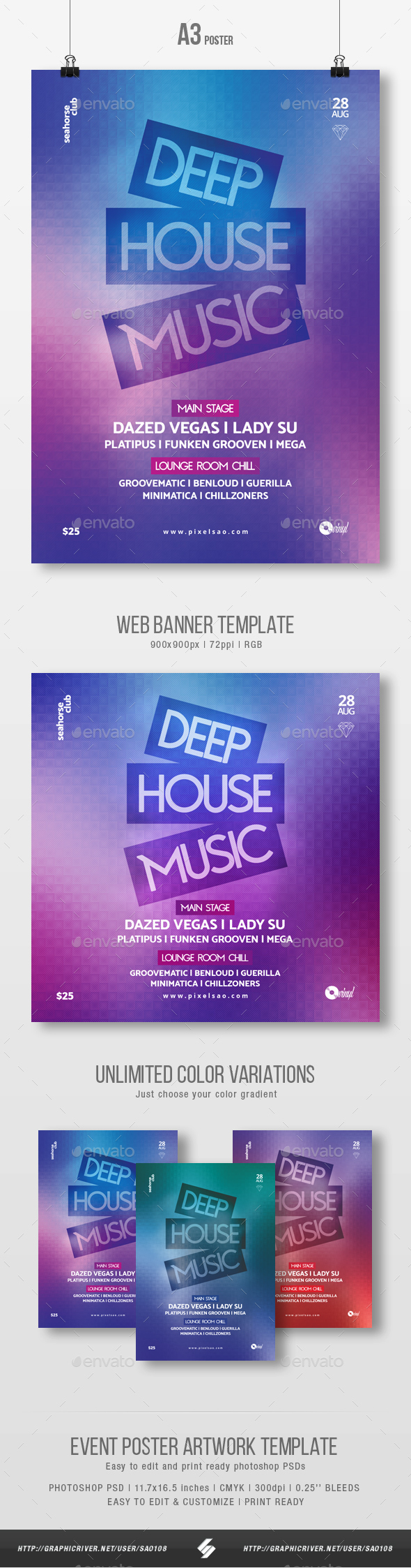 Deep House Music - Party Flyer / Poster Template A3 - Clubs & Parties Events