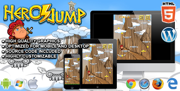 Hero Jump - HTML5 Arcade Game - CodeCanyon Item for Sale
