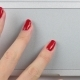 Woman's Left Hand with Red Manicure Using and Clicking a Trackpad. Top View, - VideoHive Item for Sale