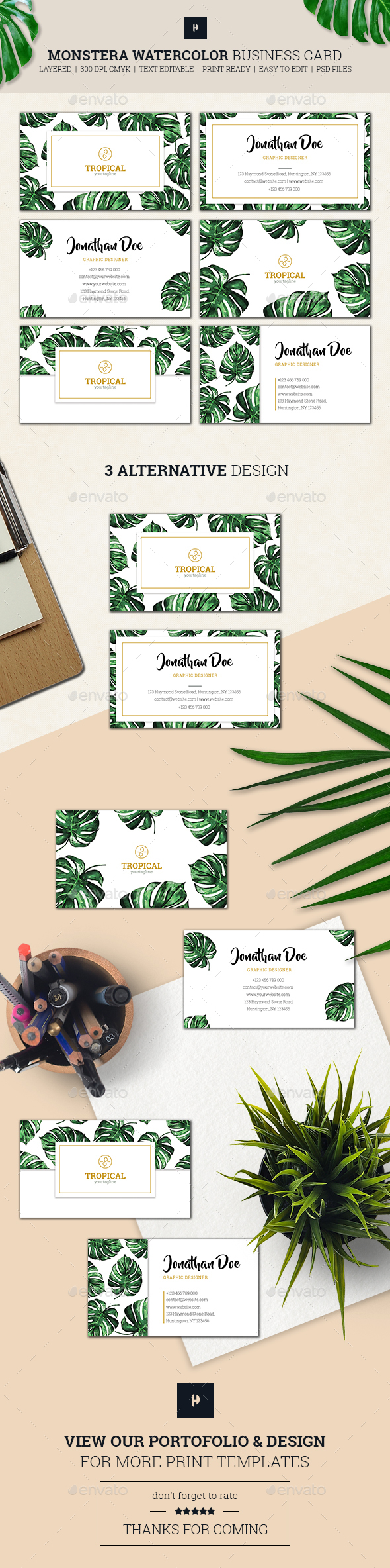 Monstera Watercolor Business Card 01 - Business Cards Print