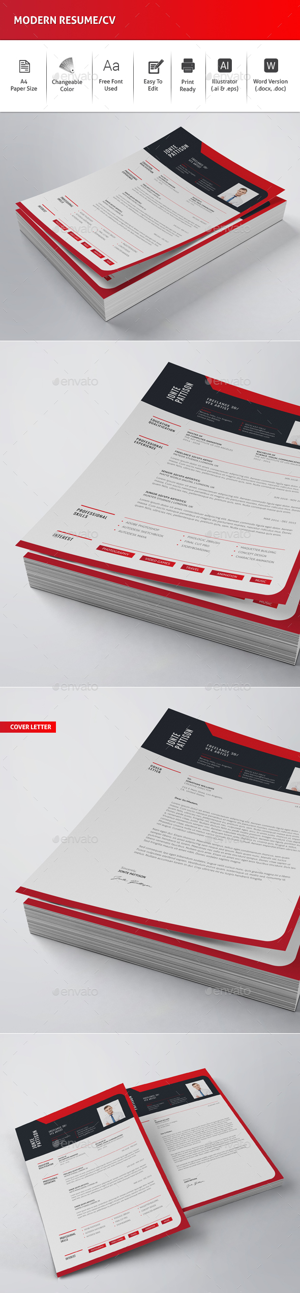 Modern Resume/CV - Resumes Stationery