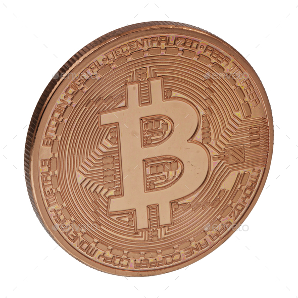Bronze bitcoin on a white background - Stock Photo - Images